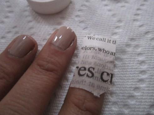 press text-square onto nail