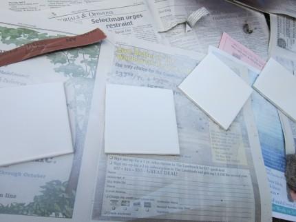 White Tiles on Newspaper
