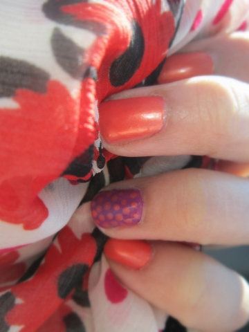 Orange With Polka Dot Accent Nail