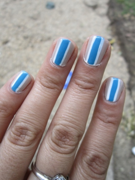 Blue Stripes Mani