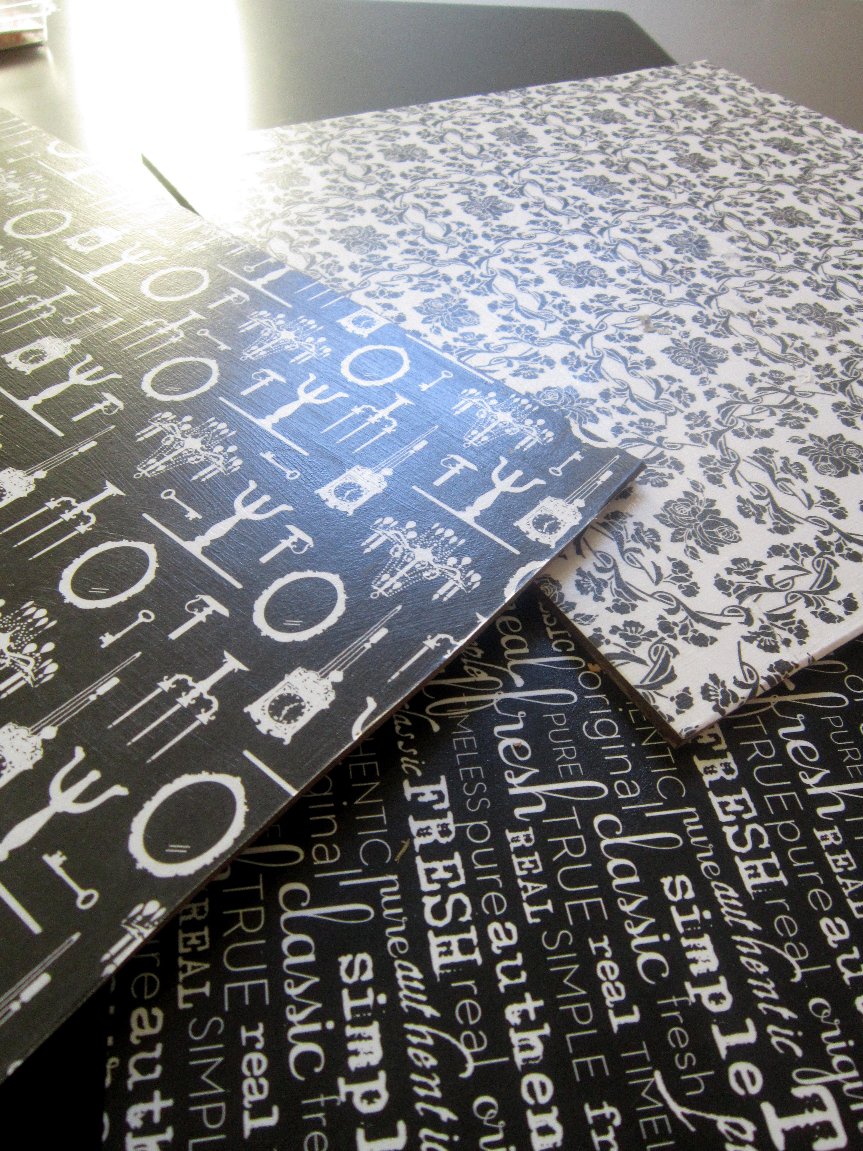 Scrapbook paper wall art - Scrapbooked Masonite Squares