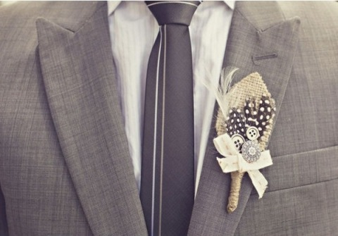 DIY burlap and feather boutonniere