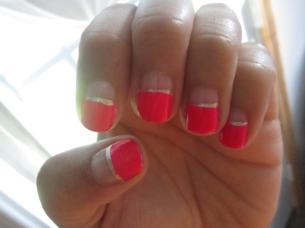 Half and Half Neon Manicure