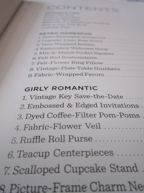 Homemade Weddings Table of Contents