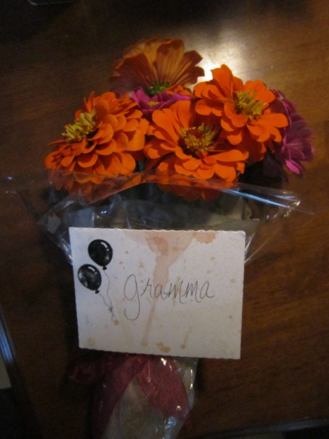 Bouquet and Card