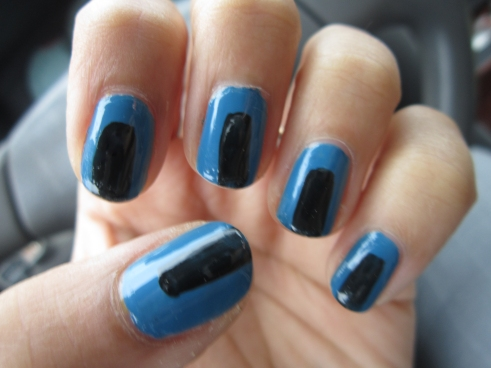 Blue and Black Stripe Mani