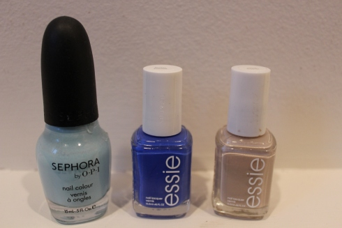 Sephora by OPI Havana Dreams, Essie Butler Please, Essie Sand Tropez