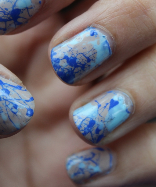 Blue Paint Splatter Nails