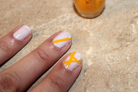 Yellow Lines Nail Art How-To