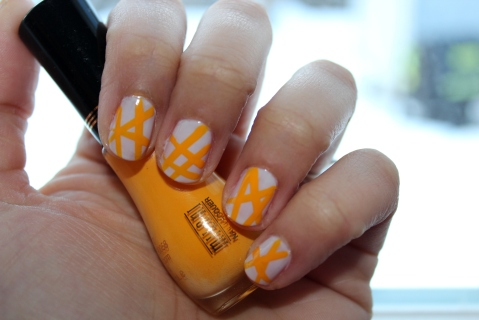 Yellow Lines Nail Art
