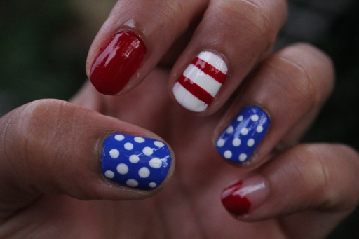 Red White and Blue Mani
