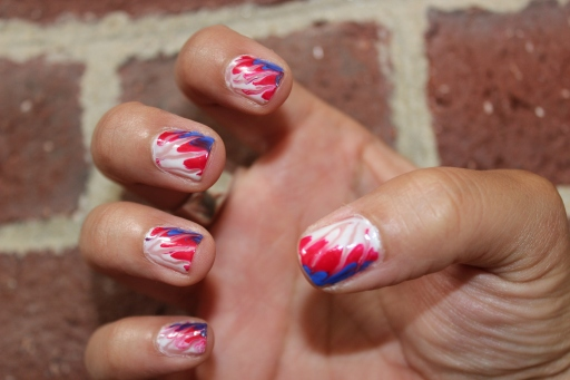 Red White and Blue Tie Dye Nails