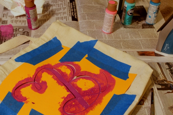 Painting the Monogrammed Tote Bag
