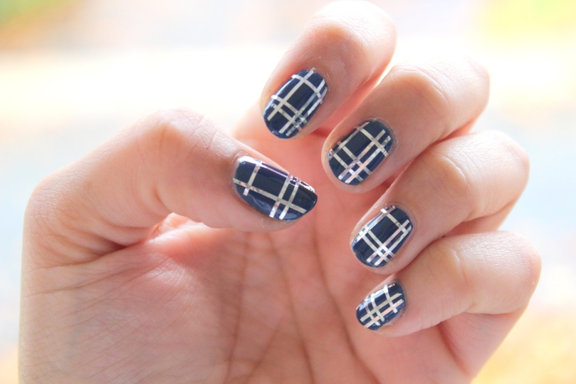Plaid Nail Tape Mani