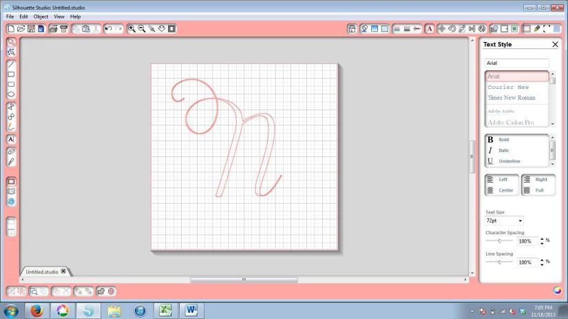 N Stencil in Silhouette Studio