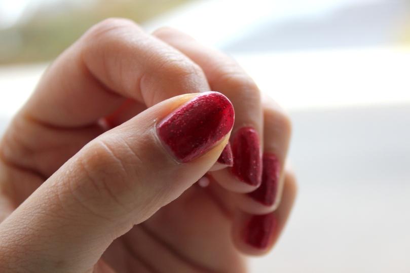 Red Glitter Mani