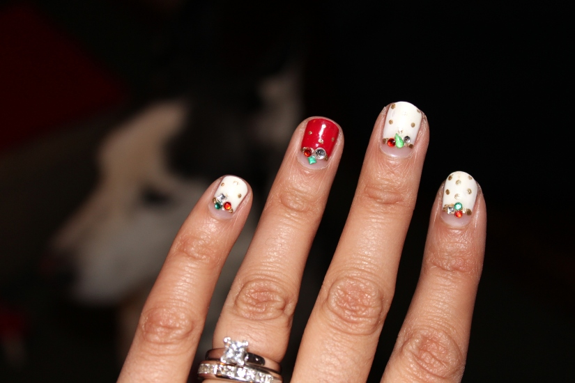 Red and White Holiday Nails