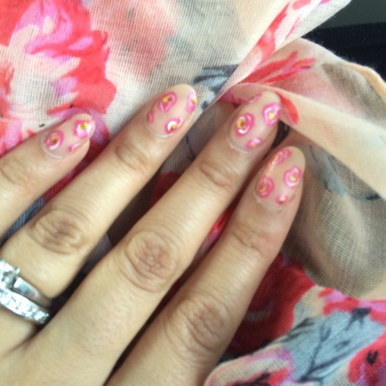 Peach and Pink Floral Nails