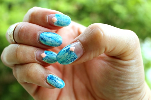 Blue Drybrush Nails
