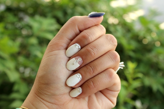 WHite Rhinestoned Nails