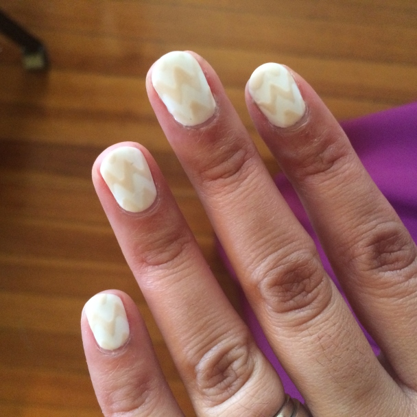 White and Cream Chevron Nails