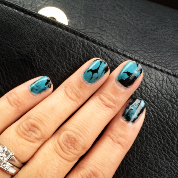 Water Marble Turquoise Nails